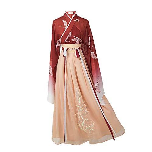 Abito Donna Hanfu Abito Antico Cinese Vestito Tradizionale da Fata Hanfu con Accessori per La Testa Costumi Cosplay per Natale Halloween Masquerade