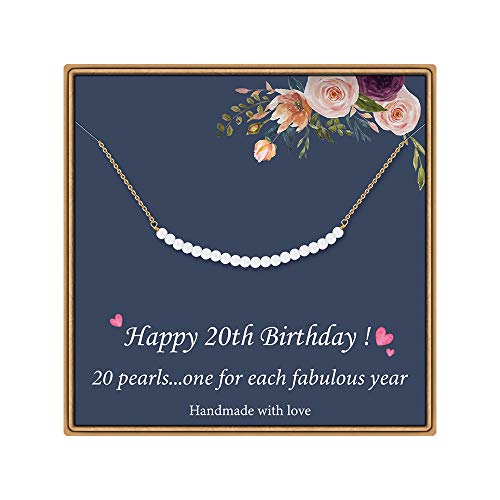20th Birthday Gifts for Girls - Pearls Pendant Necklace Happy Birthday Gifts for 20 Year Old Girls Daughter Niece 20 Pearls for 20 Year Old Girl Jewelry Gift Idea