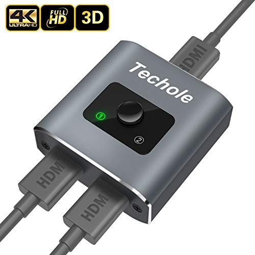 Techole HDMI Switch 4K Aluminium HDMI Splitter Bi-Direction 2 In 1 oder HDMI Switcher 1 In 2 Manuell Unterstützt HD 4K 3D 1080P für HD TV/Xbox/ PS3/ PS4/ Blu-Ray/DVR Player