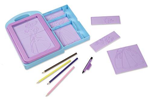 Melissa & Doug Princess Design Activity Kit - 9 Double-Sided Plates, 4 Colored Pencils, Rubbing Crayon, Multicolor