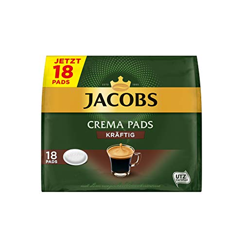Jacobs Pads Crema Kräftig, 90 Senseo kompatible Kaffeepads UTZ-zertifiziert, 5er Pack, 5 x 18 Getränke