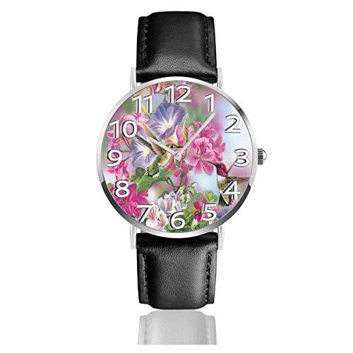 Animierte schöne Blumen Lederuhr Unisex Mode Armbanduhren Scratch Resist Uhr Durable Wear Uhren