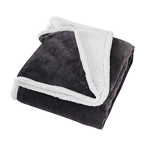 Time2sleep Sherpa Decke und Überwurf für Sofas, wendbar, 180 x 200 cm, ideal als Sofa-Überwurf, flauschige Decke oder Bettüberwurf, King Size Kuscheldecke