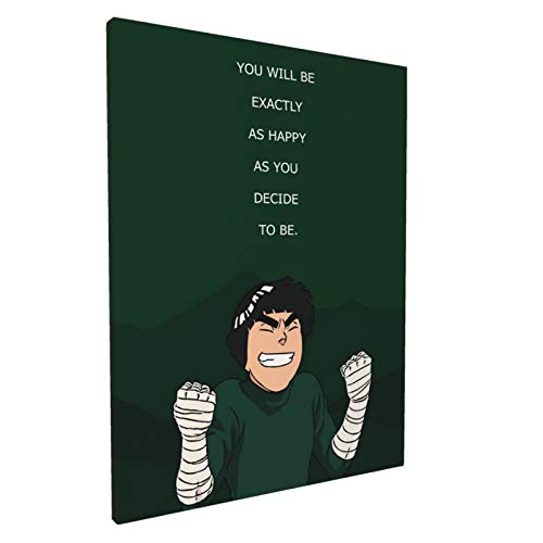 Naruto Rock Lee Anime Canvas Art Wall Art Painting Inspirational Quotes Wall Decor Modern Artwork For Living Room Bedroom Framed Ready To Hang 12x16 Inch