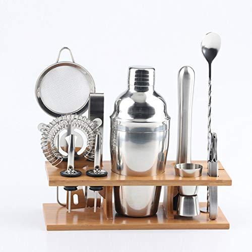 Ensemble de shaker à cocktail, ensemble de mélange de cocktail 11 pièces Kit de barman en acier inoxydable avec base de support en bambou, outils de barre de barman Martini 350/550 / 750ML (350ML)