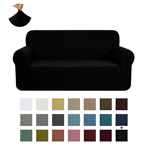CHUN YI Stretch Sofa Slipcover 1-Piece Couch Cover Furniture Protector, 3 Seater Coat SoftwithElasticBottom,ChecksSpandexJacquardFabric, Large, Black