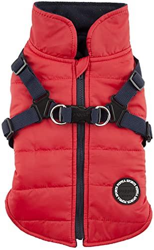 Puppia Wysokiej jakości płaszczyk dla małych psów i średnich psów – wodoszczelny i z podszewką z polaru dla przyjemnego ciepła – płaszcz dla psa z zastawkami, czerwony, XL
