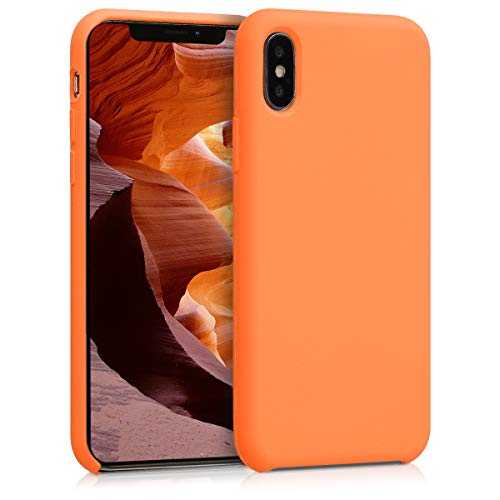 kwmobile Hülle kompatibel mit Apple iPhone X - Hülle Silikon gummiert - Handyhülle - Handy Hülle in Cosmic Orange