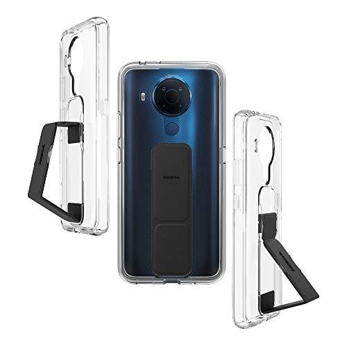 Nokia Handyhülle Kompatibel für Nokia 5.4, Handyhülle mit Fingerhalter, Schwarz Hülle mit Halterung, Schwarz