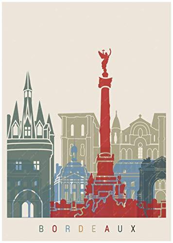 Burdeos, Francia, país del vino, mapa turístico, póster, revestimiento artístico, póster, lienzo, pintura al óleo, decoración, lienzo 40X60cm blanco
