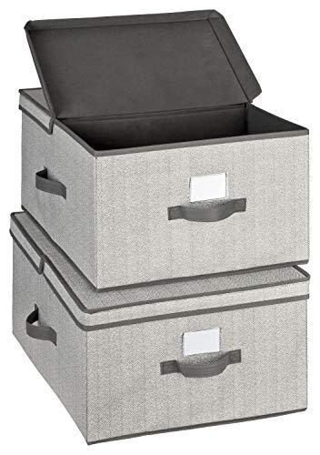 TOPP4u Caja de almacenamiento grande con tapa, juego de 2 unidades, color gris, extragrande, ideal para armario – 40 x 50 x 25 cm – plegable grande caja organizadora