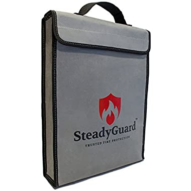 "SteadyGuard Double Layer Premium Fireproof Bag - XL 15""x11.5""x2.5"" - Non-Itchy Silicone Coated Fiberglass Pouch w/ Zipper & Handle - Safe Storage of Valuables Documents Money - Water & Fire Resistant"