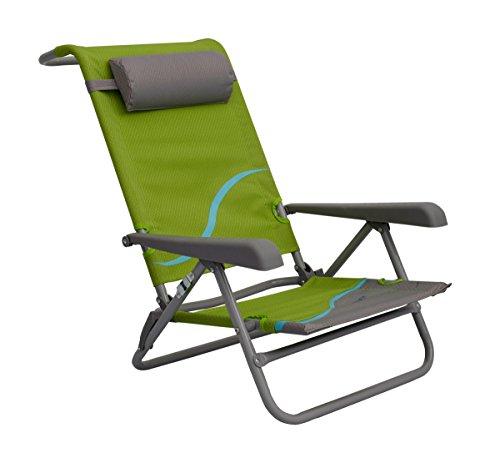 Meerweh Erwachsene Campingstuhl Strandstuhl mit verstellbarer Rückenlehne und Kopfpolster Klappstuhl Anglerstuhl, grün/grau, grün/grau, XXL, 20031