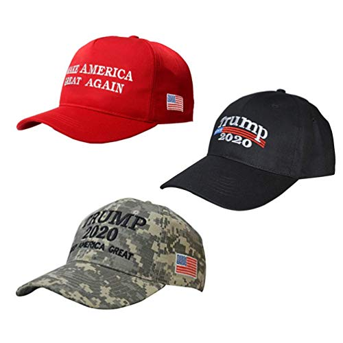 BraveWind Make America Great Again Hat The Ultimate Republiccan Donald Trump USA Cap Adjustable Baseball Hats for Men Women 3 Pack-3 Color