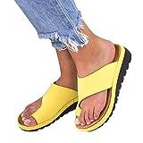 Aiwer Sandalias ortopédicas de la Plataforma de la Mujer Sandalias de cuña, para Big Toe Corrección ósea Verano Playa Zapatillas de Viaje Zapatos,Yellow,36