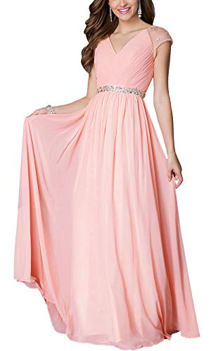 Aofur Womens Evening Dress Ball Gown Prom Party Wedding Formal Long Chiffon Maxi Dresses Plus Size (Small, Pink)