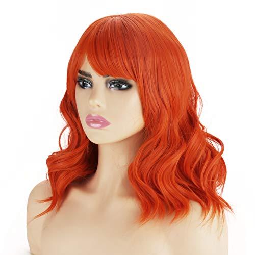 Kurze lockige Perücken - Synthetische Perücke Mittellange synthetische Perücken Hitzebeständige Faser Glueless Haar für Frauen mit Pony Perücke Kappe Enthalten 14