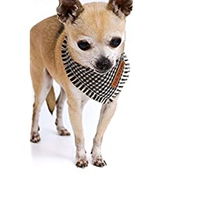Tail Trends Plaid Frayed Dog Bandanas with Leather Patch Fits Most Medium to Large Breeds (XS)