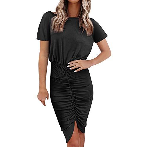 BUDAA Sexy Bodycon Kleid O-Ausschnitt Solide Sommer gerüscht Tees Kurz Kleid Bleistift Minikleid Arbeit Casual Club Gr. 40, Schwarz