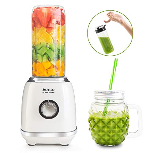 Aeitto Smoothie Maker, Mini Mixer Blender, Multifunktion Mini Standmixer, Shaker mit 500ml BPA-frei | Tritan Reise Sport Flaschen & 350ml ananasförmigen Mason Jar (300W, 23000U/Max)