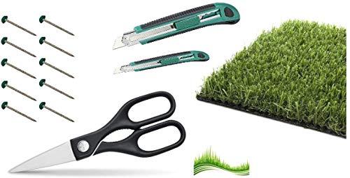 Astro - Juego de accesorios para césped artificial y hierba, 40 clavos verdes