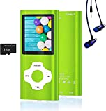 MP3 Player, Hotechs Music Player with 16GB Memory SD Card with Photo/Video Play/FM Radio/Voice Recorder/E-Book Reader (Green)