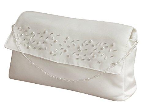 hochzeits-shop-hamburg Brauthandtasche mit Perlenkette Ivory Maße ca.20 * 11cm