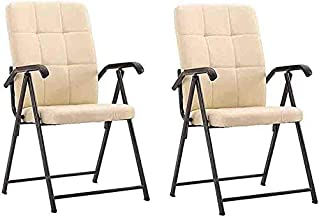 Folding Chair Portable Steel Frame Faux Leather High Backrest Home Computer Office Conference Chairs,Pack of 2 (Color : Off-White)
