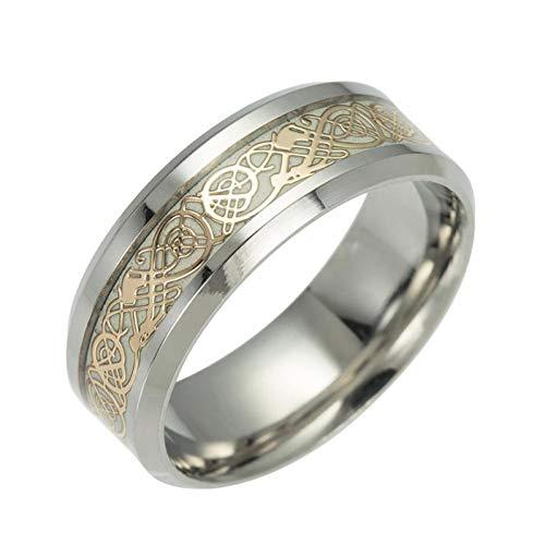 ERDING Unisex/Verlobungsring/Freundschaftsring/1 Stücke Edelstahl Luminous Dragon Ringe Unisex Zubehör Fluoreszierende Leuchtende Ringe Für Männer Frauen Geschenk