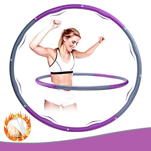 WOTEK Fitness Reifen Hoop Erwachsene und Kinder,Gewichteter Hoop zur Beschleunigung des Gewichtsverlusts und des Kalorienverbrauchs,8-teiliger Abnehmbarer für Sport/Zuhause/Büro