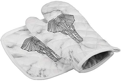 MODORSAN Boho Elephant Striped Marble Ofenhandschuhe Hitzebeständige Heizkissen mit rutschfesten Grillhandschuhen...