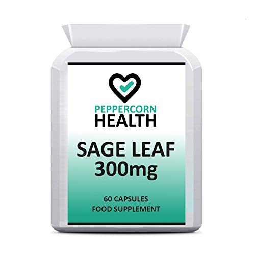 Sage Leaf 300mg, 60 Capsules, Suitable for Vegans, Works for hot flushes, Night Sweats and Menopause Symptoms, Peppercorn Health