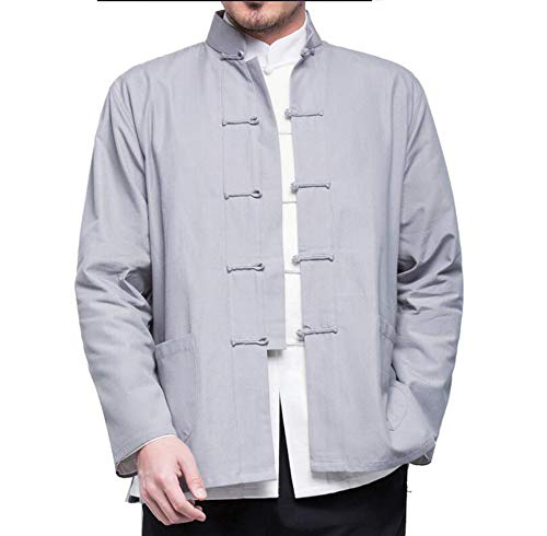 EEKUY Chinese stijl tang pak mannelijke jeugd, Chinese kleding katoen en linnen Chinese jas middelbare leeftijd lange mouwen shirt