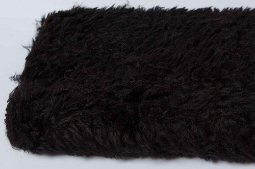 lockiges Tier Fell–Schwarz–15mm Flor Hochwertige Teddybär und Stofftieren Stoff Fell, schwarz, 1 m