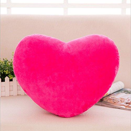 Zinsale Algodón Forma de corazón Almohadas de Felpa Almohada de Respaldo para la Espalda Cojín Decorativo (Rosa)