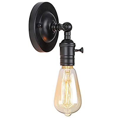 Small Wall Light Fixtures, Industrial Farmhouse Wall Lighting, Bedroom Wall Sconce for Reading? Adjustable Wall Lamp for Kitchen, Black