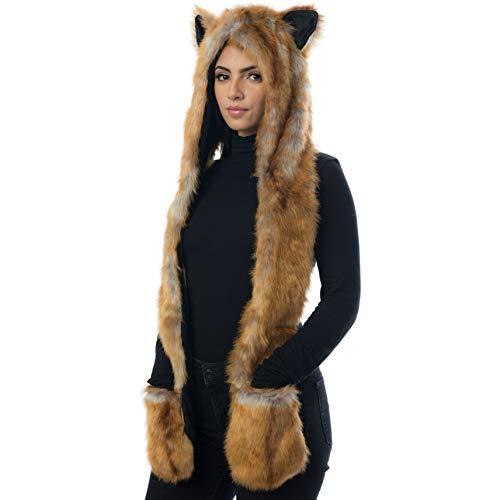 Fox Animal Hood Mittens Gloves Scarf Paws Prints and Ears, Furry Hoodie