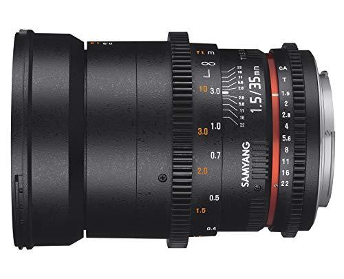 Samyang 35/1,5 Objektiv Video DSLR II MFT manueller Fokus Videoobjektiv 0,8 Zahnkranz Gear, Weitwinkelobjektiv schwarz