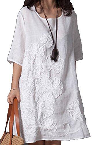Las Mujeres Vestido De Verano Casual Plus Tamaño Vestidos De Fiesta De Cañamo Bordados Blanco XXL