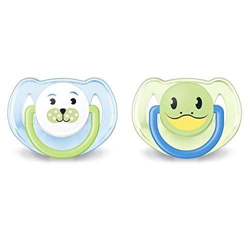 Philips Avent SCF182/14 Succhietti Animaletto Orso e Rana, Tettarelle Ortodontiche, Senza BPA (6-18 Mesi), 2 Pezzi