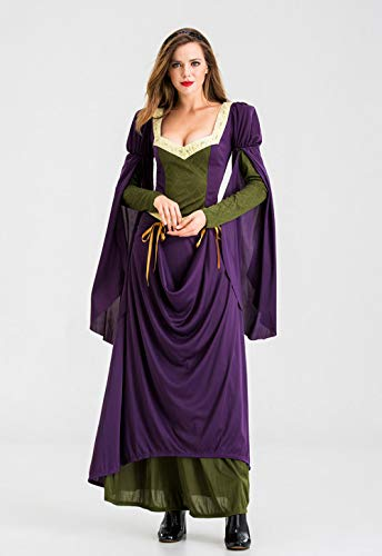 Fnho Vestido Medieval Halloween Disfraz,Medieval Vestido de Halloween,Disfraces de actuacin Medieval, Disfraces de Fiesta de Corte Retro-L