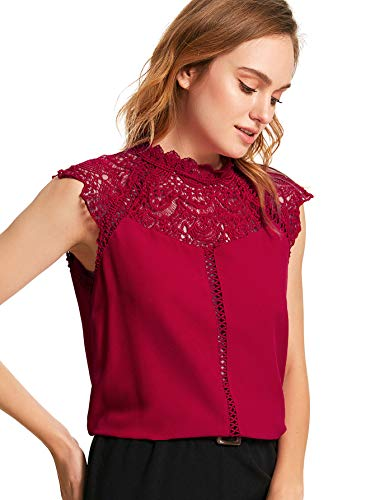 SheIn Women's Elegant Sleeveless Contrast Lace Chiffon Blouses Tops Red Large