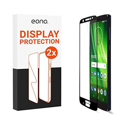 Eono 3D Panzerglas [2 Stück] kompatibel mit [Motorola Moto G6 Plus] - Schutzglas mit 100% Display-Abdeckung gegen Displaybruch - 9H, Full Screen