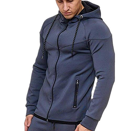 Men's Style Sports Suit Jogging Suit Tracksuit Hoodie Solid Color Men Zip Sweatshirt with Drawstring Pocket Casual Slim Sweat Jacket Transition Jacket New Warm Fashion Fitness Coat top L
