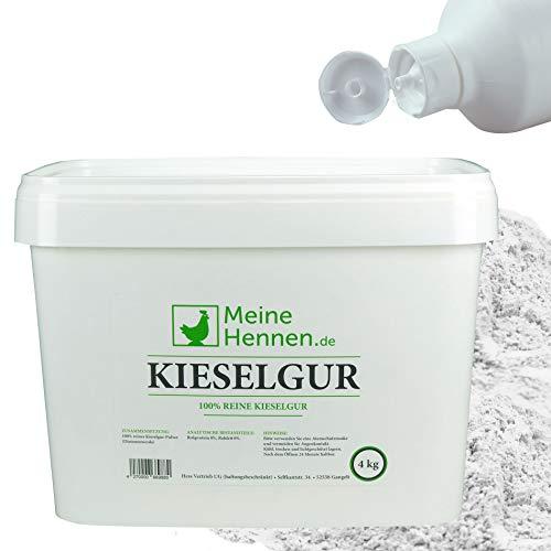 Meine Hennen (EUR 5,50/ kg) Reine natürliche Kieselgur - 4 kg im 16,6 Liter Eimer mit Puderflasche - Für Hühnerstall und Garten - Natürliche Diatomeenerde