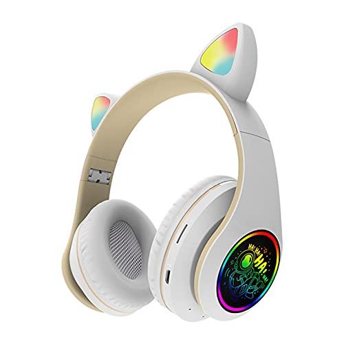 NHBETYS LED Light Up Support TF Card Gaming Headset Diadema ajustable FM Radio Gato Ear(Blanco)