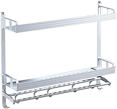 ZHANGCHI バスルームシェルフシャワーオーガナイザー壁掛け式長方形パンチ自由スペースアルミニウム1/2ティアネイルフリー(カラー:レイヤ1、サイズ:40cm)