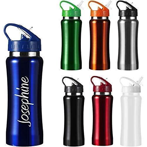 Edelstahl Trinkflasche mit Gravur Isolierflasche Wandern Camping Outdoor graviert (schwarz)