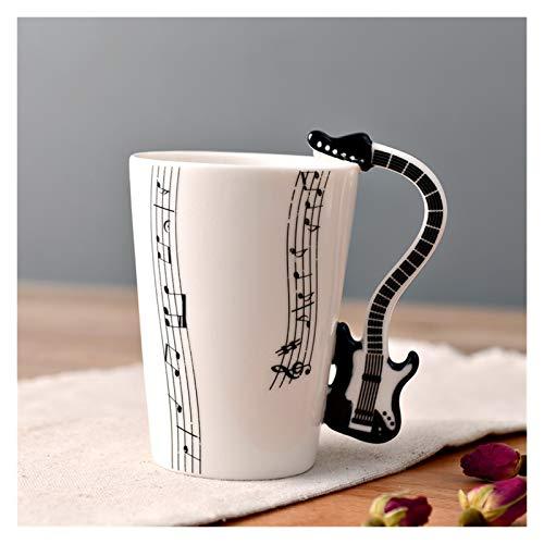 JSJJAYU Taza para Beber Copa de cerámica Taza de Guitarra Instrumento Musical Taza de Agua Oficina Creativa Desayuno Leche Taza de café Regalo de cumpleaños (Capacity : 250ml, Color : 18)
