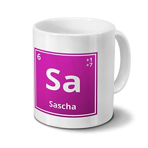 Tasse mit Namen Sascha als Element-Symbol des Perioden Systems - pink - Namenstasse, Kaffeebecher, Mug, Becher, Kaffeetasse